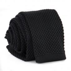 Keskeny, kötött nyakkendő - fekete