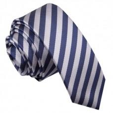 Keskeny, ezüstszürke/sötétkék csíkos nyakkendő