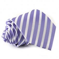 Vékony csíkos selyem nyakkendő - lila - fehér