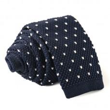 Keskeny, kötött nyakkendő - sötétkék/fehér