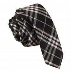 Keskeny, mintás nyakkendő - fekete/fehér