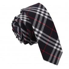 Keskeny, mintás nyakkendő - sötétkék