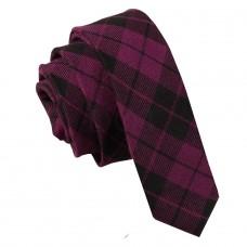 Keskeny, mintás nyakkendő - lila/fekete