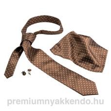 Pöttyös selyem nyakkendő-szett barna színben