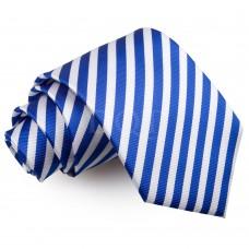Csíkos nyakkendő - fehér/királykék
