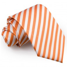 Csíkos nyakkendő - fehér/narancssárga