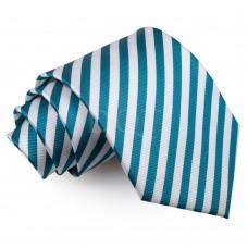 Csíkos nyakkendő - fehér/pávakék