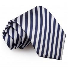 Csíkos nyakkendő - fehér/sötétkék