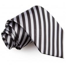 Csíkos nyakkendő - fekete/ezüst