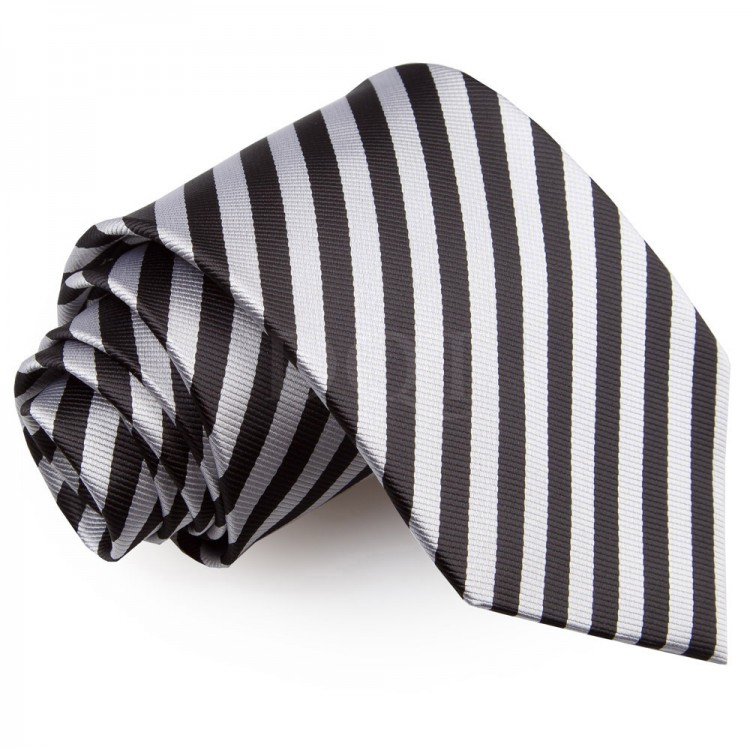08ae198ee1 Csíkos nyakkendő - fekete/ezüst