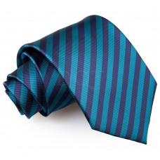 Csíkos nyakkendő - pávakék/sötétkék
