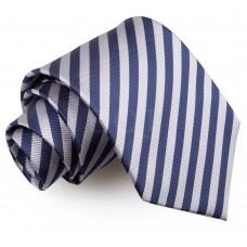 Csíkos nyakkendő - sötétkék/ezüst