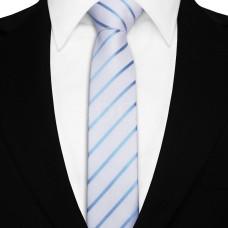 Keskeny nyakkendő - fehér/tengerkék