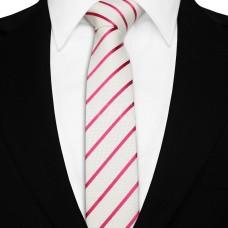 Keskeny nyakkendő - fehér/pink