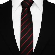 Keskeny nyakkendő - fekete/burgundi