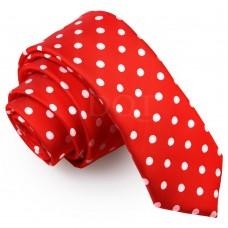 Keskeny, piros nyakkendő - pöttyös