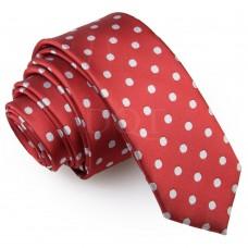 Keskeny, sötétpiros nyakkendő - pöttyös