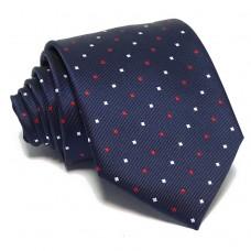 Tengerészkék nyakkendő - fehér-piros mintás