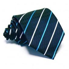 Tengerészkék nyakkendő - fehér-zöld csíkos