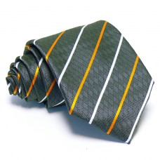 Szürke nyakkendő - narancs-fehér csíkos