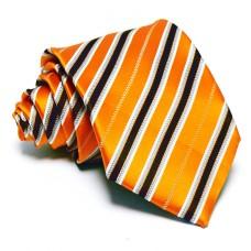 Narancssárga nyakkendő - barna-ezüst csíkos