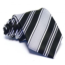 Szürke nyakkendő - fekete-ezüst csíkos
