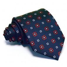 Sötétkék nyakkendő - fehér-piros mintás