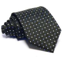 Anyagában kockás fekete nyakkendő - apró pöttyökkel