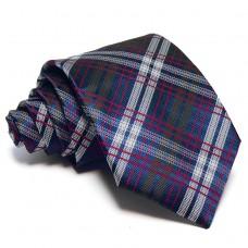 Sötétkék nyakkendő - fehér-piros-zöld csíkos