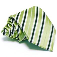 Lime zöld nyakkendő - fehér-kék csíkos