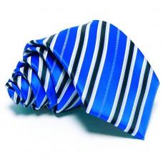 Tengerkék nyakkendő - sötétkék-ezüst csíkos