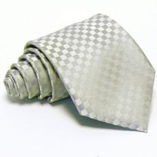 Ezüstszínű kockás nyakkendő - anyagában mintás