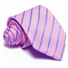 Rózsaszín nyakkendő - tengerkék csíkos