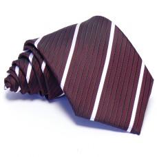 Burgundi vörös nyakkendő - fehér-fekete csíkos