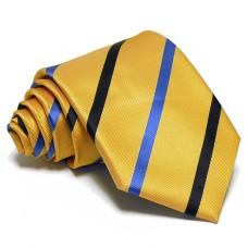 Aranysárga nyakkendő - kék csíkos