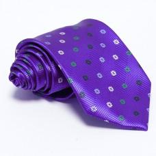 Lila nyakkendő - fehér-zöld mintás