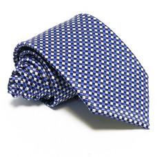 Kék nyakkendő - fehér kockás
