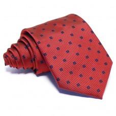 Piros nyakkendő - sötétkék mintás