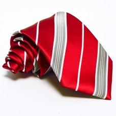 Piros nyakkendő - ezüst csíkos