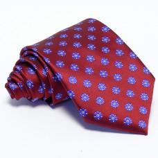 Burgundi nyakkendő - kék mintás