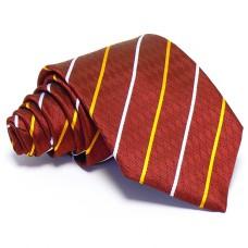 Bordó nyakkendő - fehér-arany csíkos