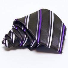 Grafitszürke nyakkendő - lila-fehér csíkos