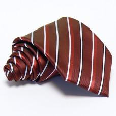 Burgundi vörös nyakkendő - fehér-bordó csíkos