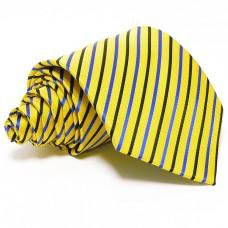 Citromsárga selyem nyakkendő - tengerészkék csíkos