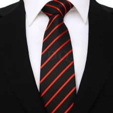 Vékony csíkos - fekete/piros