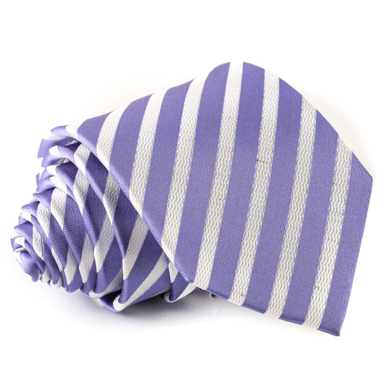 3d67d93a2f Vékony csíkos selyem nyakkendő - lila - fehér