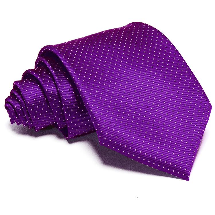 7f681fcb4d Lila nyakkendő - fehér pöttyös