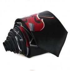 Fekete, hangszermintás keskeny nyakkendő