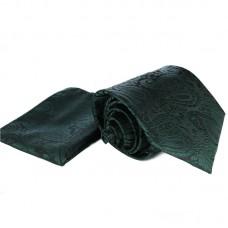 Anyagában virágmintás, sötét zöld nyakkendő díszzsebkendővel