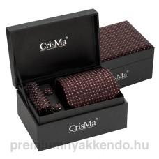 Selyem nyakkendő-szett - fekete/piros